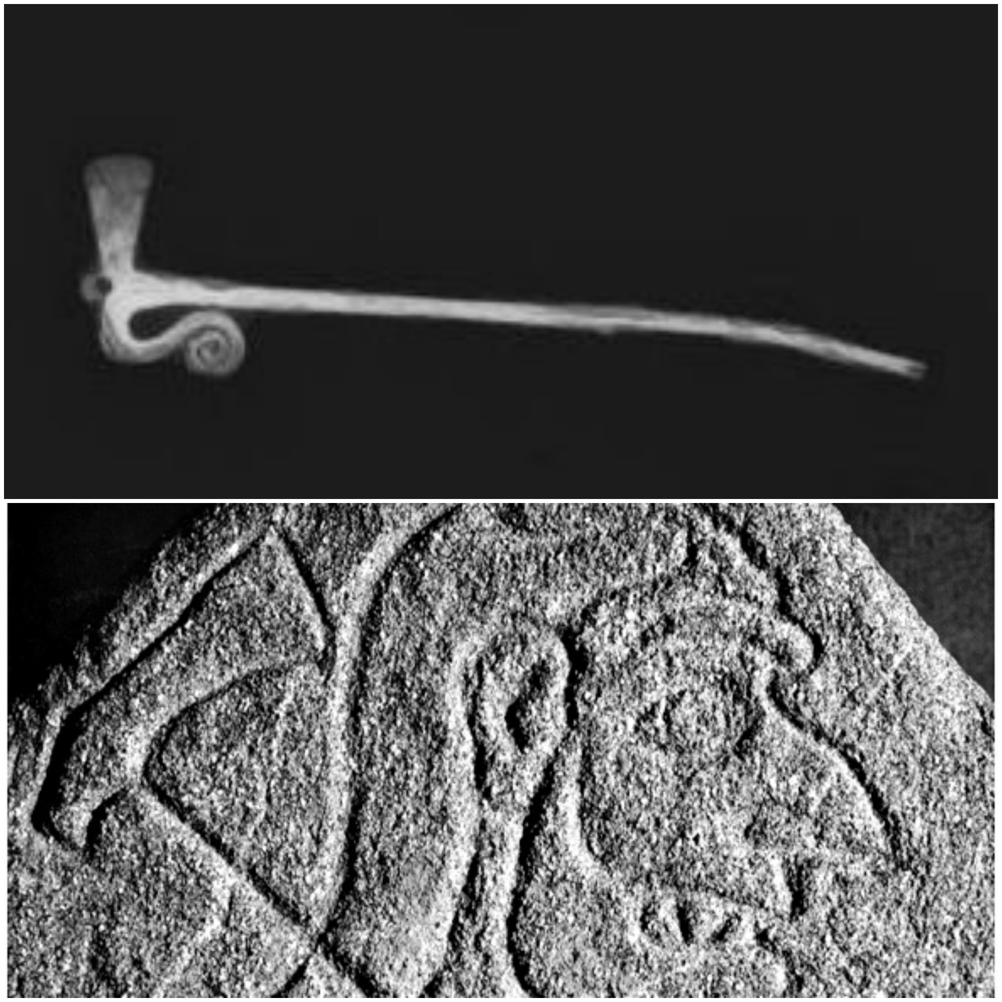 Axe-headed pin (top) and the 'Rhynie Man' (below).