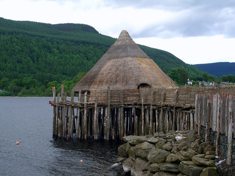 Reconstructed crannog on Loch Tay.
