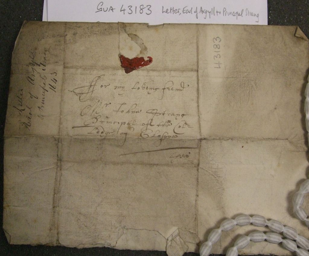 A letter from the Marquess of Argyll, chief of Clan Campbell to Principal Strang of the University of Glasgow, 1643. Link: http://sgeulnagaidhlig.ac.uk/?page_id=1609&lang=en