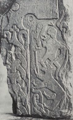 Thorwald's Cross showing Fenrir swallowing Odin at Ragnarök.