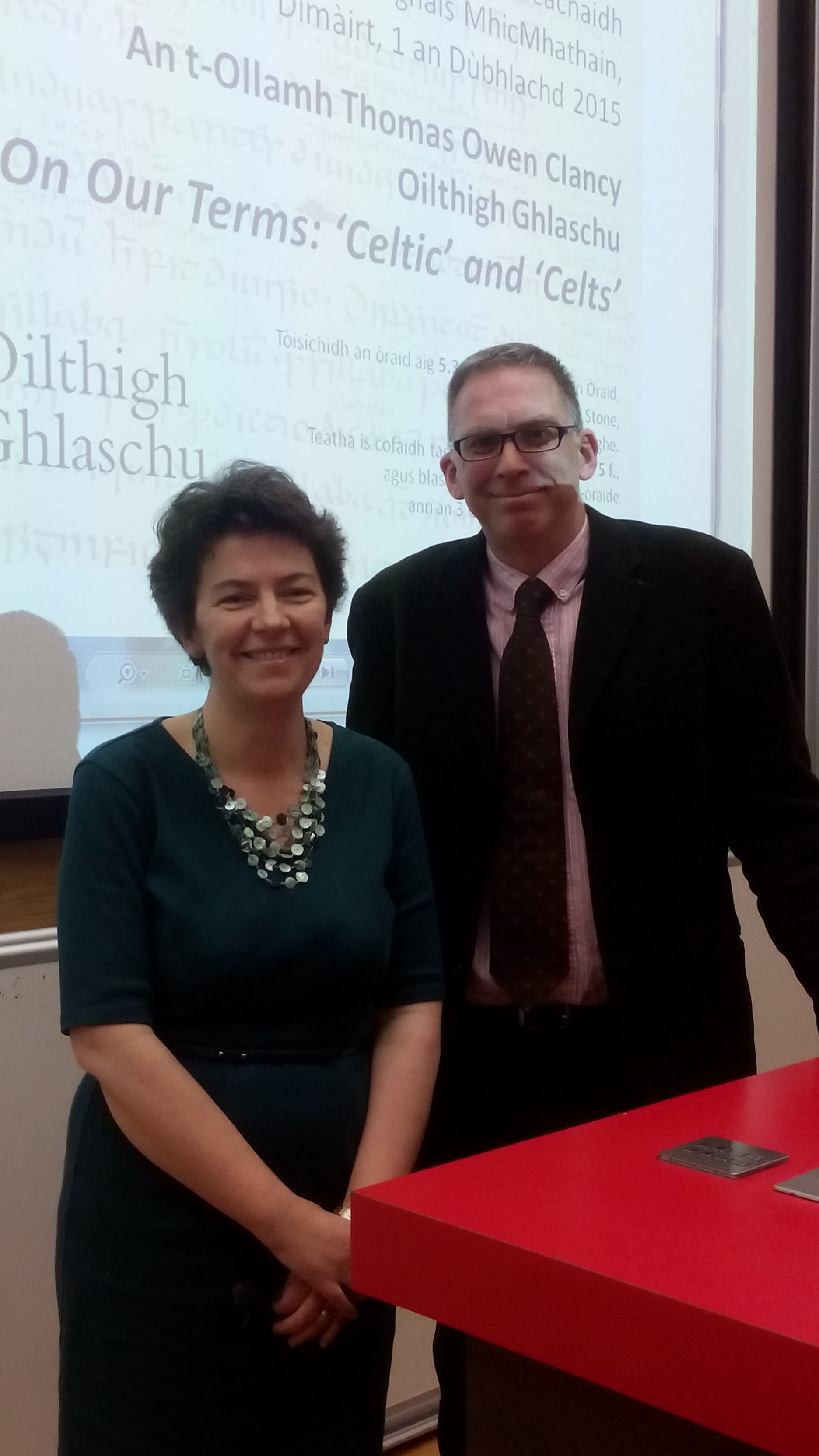 Prof Thomas Owen Clancy with Dr. Katherine Forsyth at the 10th Annual Angus Matheson Memorial Lecture.