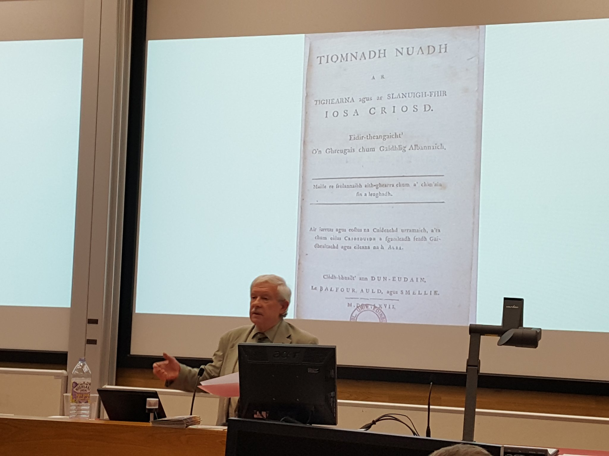 Ronald Black discussing the Gaelic New Testament, published in 1767.