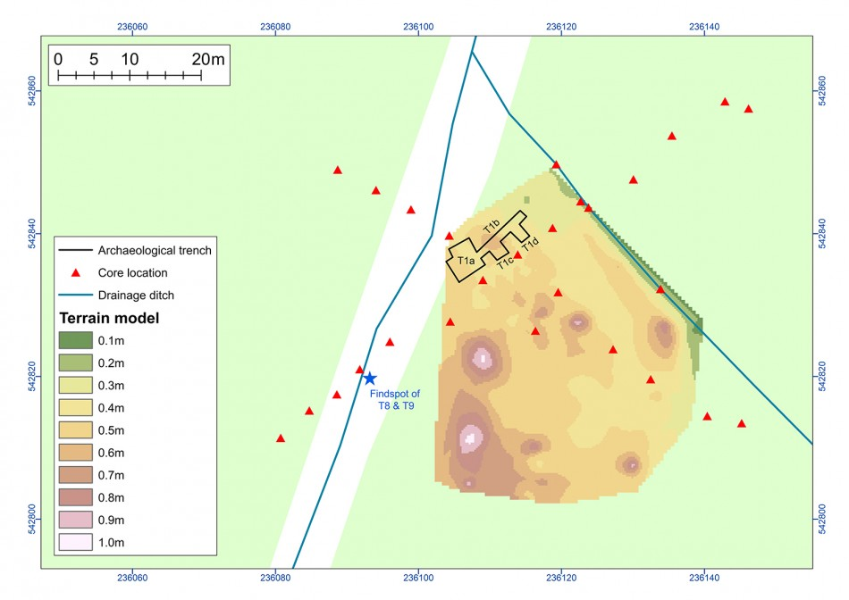 A digital terrain model of the site showing the location of the mounds (A. Crone & G. Cavers, 2015)